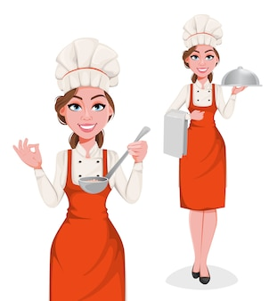Mulher bonita jovem chef. senhora bonita cozinheira