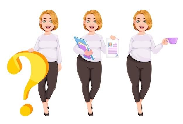 Mulher bonita jovem plus size. linda empresária obesa