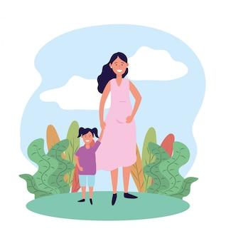 Mulher bonita mãe com sua filha e plantas