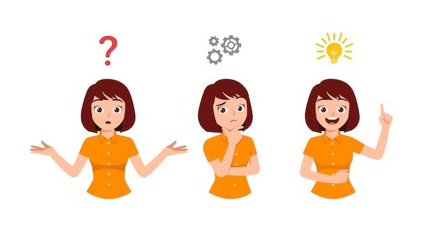 Mulher bonita pensando e procurando pelo processo de ideias