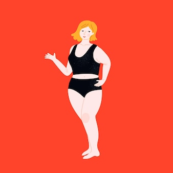 Mulher bonita plus size em pé e apontando algo com a mão. garota de corpo positivo em calças top e hipster. ilustração em vetor plana feminina curvilínea em fundo laranja.