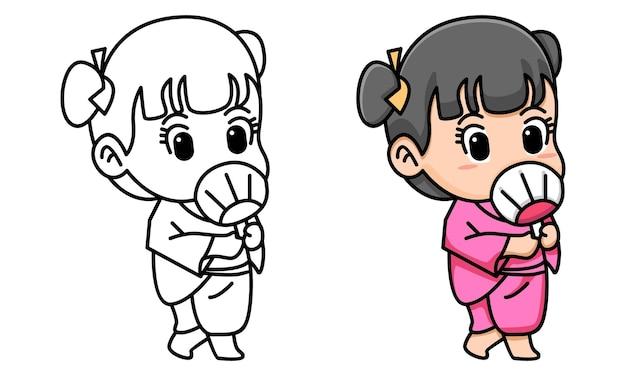 Mulher bonita pose com quimono para colorir para crianças