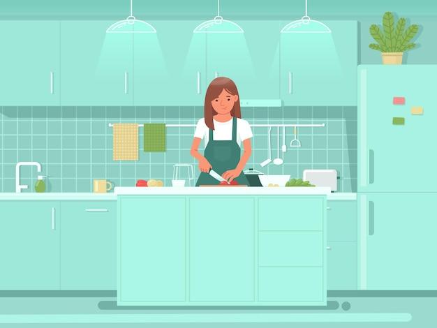 Mulher bonita preparando salada na cozinha cozinhando refeições para o café da manhã ou almoço alimentação saudável