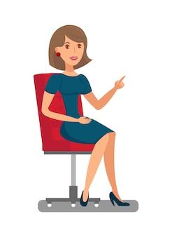 Mulher bonita sentada na cadeira