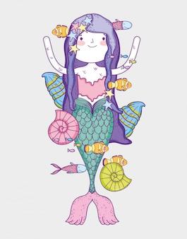 Mulher bonita sereia com caracóis e conchas