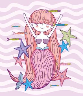 Mulher bonita sereia com estrelas do mar e peixes