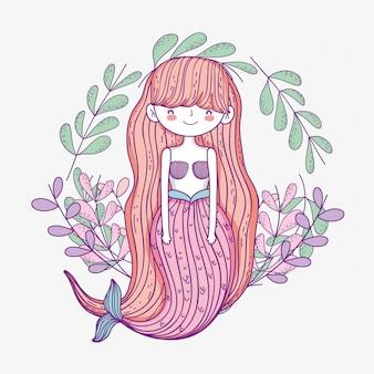 Mulher bonita sereia com folhas plantas