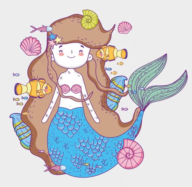 Mulher bonita sereia com peixes e conchas