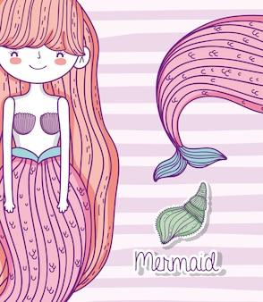 Mulher bonita sereia com penteado e conchas