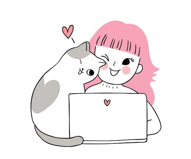 Mulher bonito do dia dos namorados dos desenhos animados e vetor do gato e do portátil.