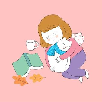 Mulher bonito do outono dos desenhos animados e vetor do sono do gato.