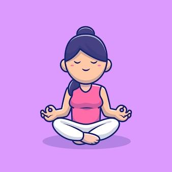 Mulher bonito meditando ilustração em vetor ícone dos desenhos animados de ioga. povos e conceito do ícone do esporte isolado vetor superior. estilo cartoon plana