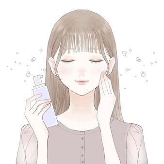 Mulher borrifada com loção tipo névoa no rosto. sobre um fundo branco.