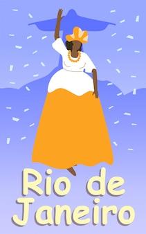 Mulher brasileira gorda no exuberante vestido e cocar.