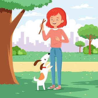 Mulher brincando com cachorro