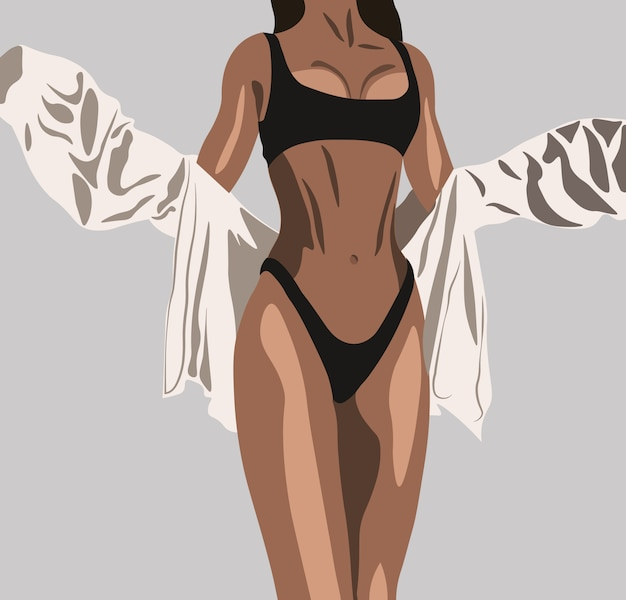 Mulher bronzeada em cueca preta e camisa branca posando