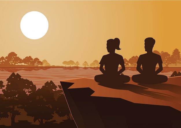 Mulher budista e homem treinam meditação