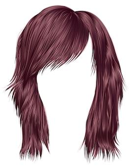Mulher cabelos cor rosa cobre.