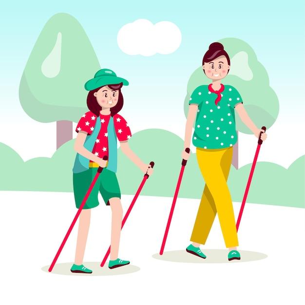 Mulher caminhada nórdica, aposentada segurando bastões de esqui