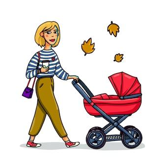 Mulher caminhando com carrinho de bebê
