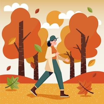 Mulher caminhando, em, outono
