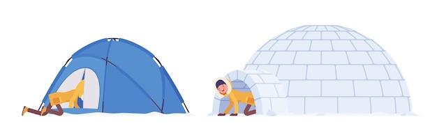 Mulher caminhando no inverno em um abrigo