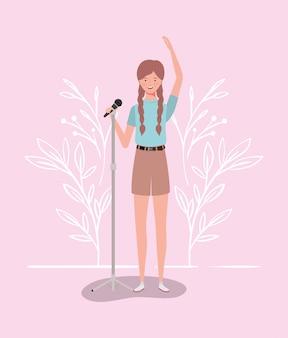 Mulher, cantando, com, microfone, personagem