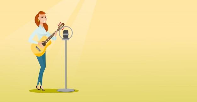 Mulher cantando em um microfone.