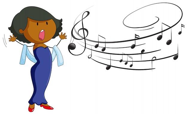 Mulher cantando no fundo branco