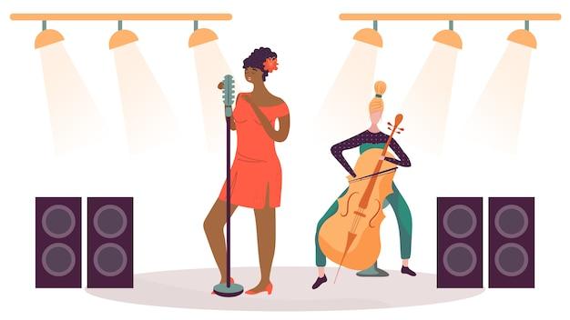 Mulher cantando no palco, músico tocando violoncelo, ilustração vetorial