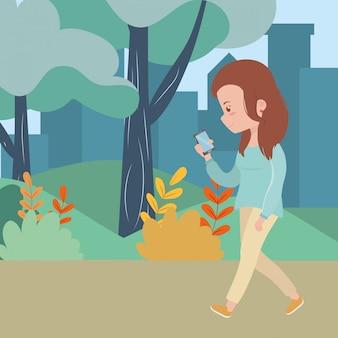 Mulher, caricatura, com, smartphone