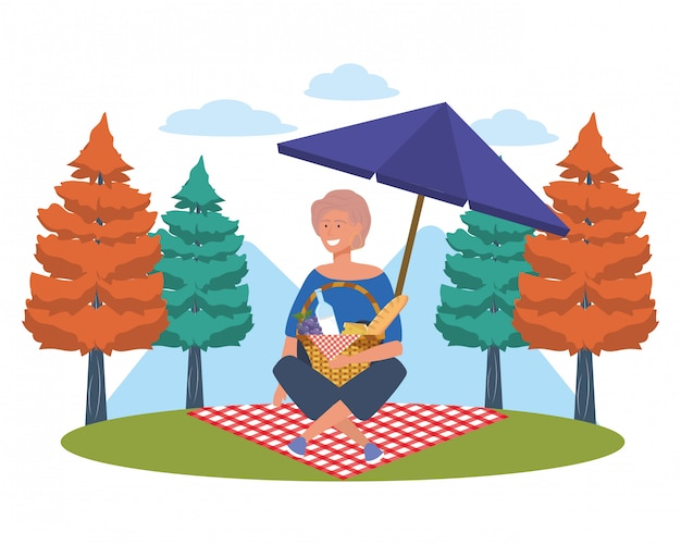 Mulher, caricatura, tendo piquenique