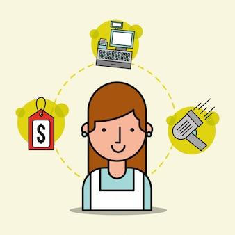 Mulher cartoon empregado supermercado tag preço caixa registradora e scanner