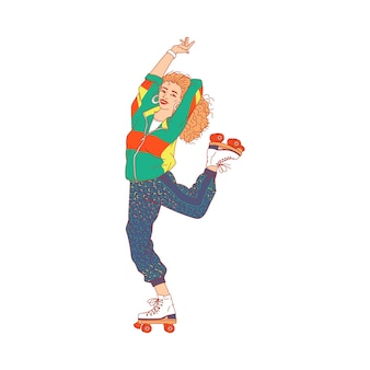 Mulher cartoon no estilo discoteca patinando em patins e dançando