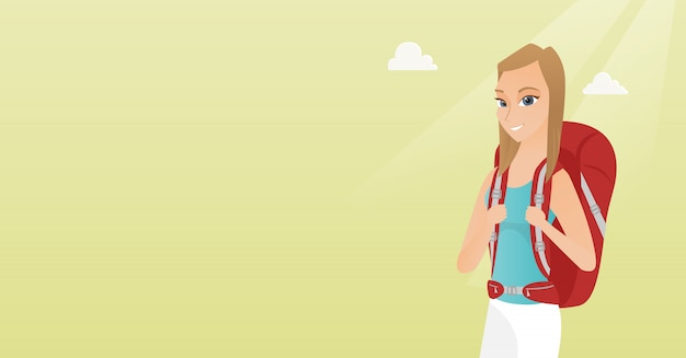 Mulher caucasiana jovem viajante com uma mochila.