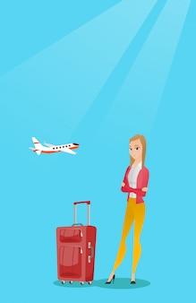 Mulher caucasiana, sofrendo de medo de voar.