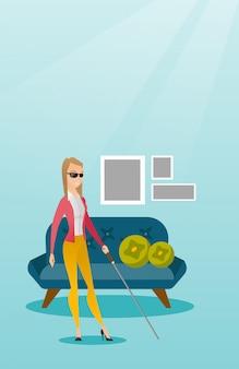 Mulher cega com uma ilustração do vetor da vara.