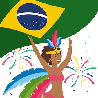 Mulher, celebrando, brasil, carnaval, vetorial, ilustração