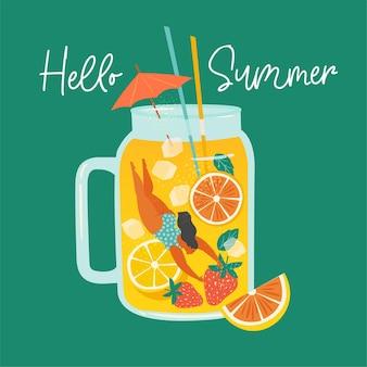 Mulher cena de verão mergulhando divertido contra o enorme copo de suco de fruta batido