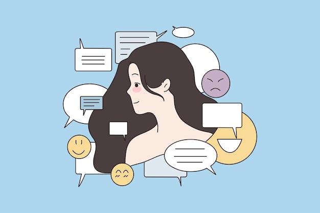 Mulher cercada por diferentes símbolos emoticons