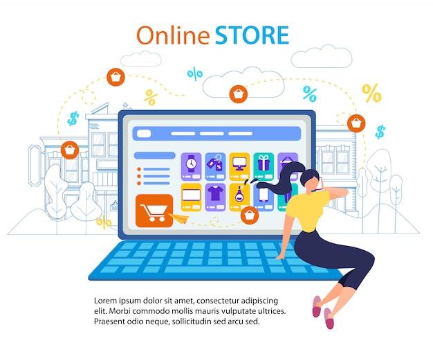 Mulher chamada celular. tela do computador da loja online