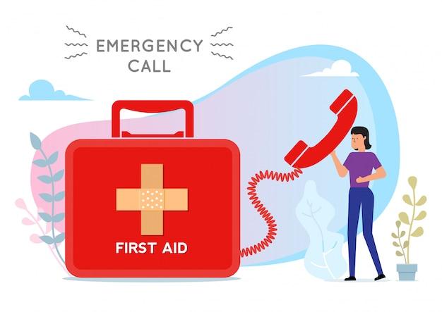 Mulher chamando ilustração de chamada de emergência