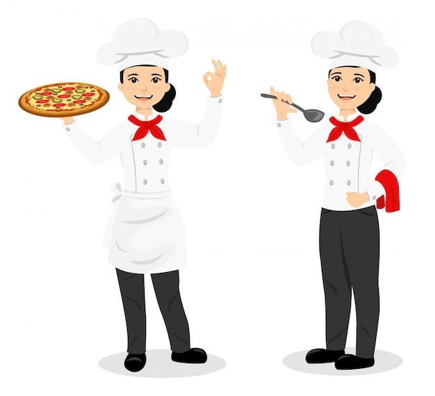 Mulher chef charater com pizza e comida
