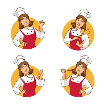 Mulher chef personagem dos desenhos animados design