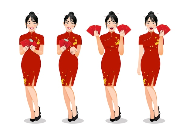 Mulher chinesa segurando envelopes vermelhos em roupas de estilo tradicional com diferentes gestos isolados