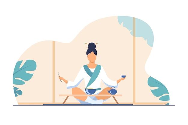 Mulher chinesa sentada à pequena mesa e comendo. chá, arroz, ilustração vetorial plana de pauzinho. tradição e conceito de nação