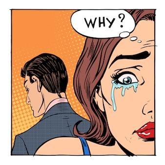 Mulher chorando disse por que o homem extrovertido