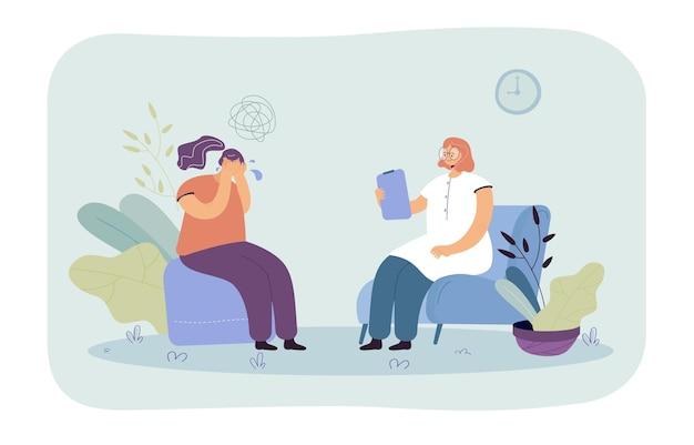 Mulher chorando na sessão de terapia