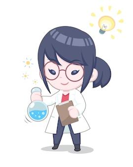 Mulher cientista feliz fazendo experiências com ilustração de química