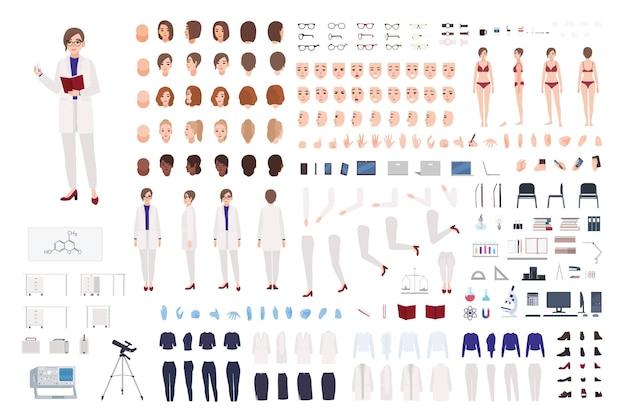 Mulher cientista ou conjunto de construtor de trabalhador de laboratório científico ou kit diy. pacote de partes do corpo feminino, roupas de laboratório e equipamentos isolados no fundo branco.